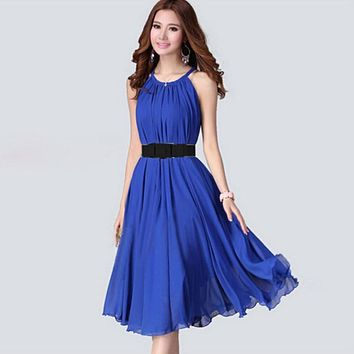 Summer Beach Maxi Long Chiffon Bohemian Woman Elegant dresses Vestidos Casual Halter Novelty Belt Dresses Womens sarafan #13-15