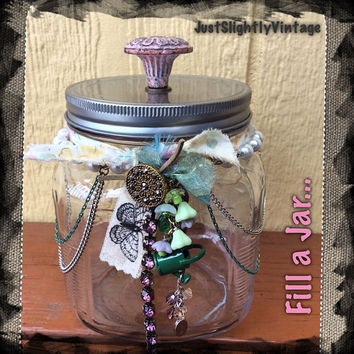 Garden Memory Jar, Memory Jar, Embellished Jar, Home Decor Jar, Altered Jar, JustSlightlyVintage