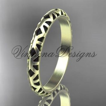 14kt yellow gold stackable, stacking ring, wedding band, midi ring, black enamel WB120016