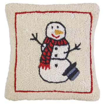 Warm Snowman Hooked Wool Pillow 18""