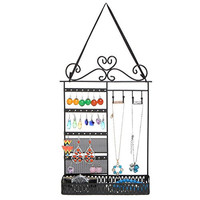 Black Metal Scrollwork Design Hanging Jewelry Display Rack / Cosmetics Organizer Basket Shelf - MyGift®