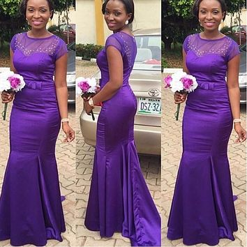 Cheap Bridesmaid Dress 2017 Mermaid Sheer Neck Purple Long Africa Maid of Honor Dresses Formal Gowns Wedding Party Guest Dress