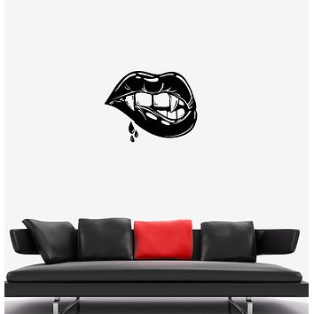 Wall Decal Female Lips Vampire Sexy Girl Fangs Vinyl Sticker (ed1021)