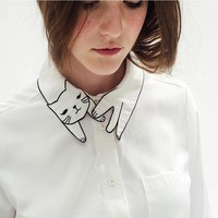 Arrival Womens Embroided Tops Mori Girl Blouses with Cute Cat White Cheap Long Sleeve Shirts with Pocket Tops Long Sleeve 2015