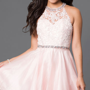 Lace Bodice Short Dress with Jeweled Straps