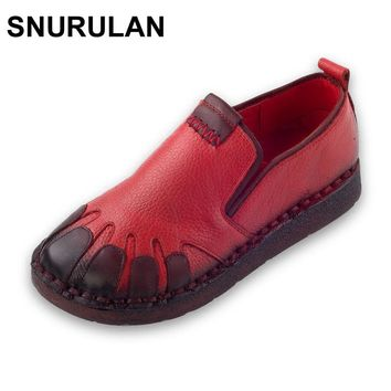 SNURULAN  Style Genuine Leather Women Flat Shoes Round Toe Woman Casual Loafers Fashion Handmade Women Shoes & Flats