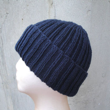 Ribbed Hat Navy Blue, Mens Watch Cap, Hand Knit, Peruvian Wool, Teens Men Women, Beanie