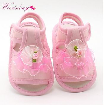 2017 Baby Girl Lace Flowers Sandals Cotton Fabric New Pink White Red for Girl Sandals Summer Shoes 0-18 M
