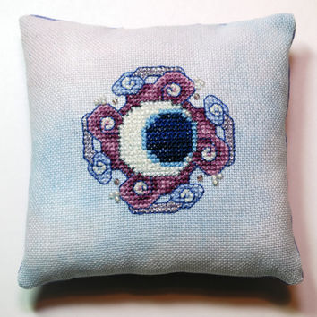 Finished Cross Stitch Moon Mirror Small Pillow / by epicstitching