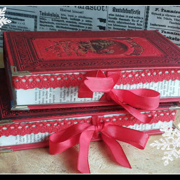 Handmade altered red Christmas old book giftboxes, a pair