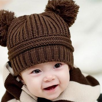 Cute Winter Warm Dual Ball Knitted Baby Hats Girls Boys Caps Unisex   Beanie Hairball New Ear Baby Hat Cute Children Cap