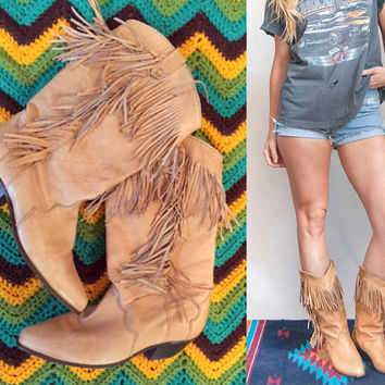 Tan Leather Fringe Boots womens Size 7.5 Size 7 | 80s womens vintage cowboy western light brown boho leather biker southwestern fringe boots