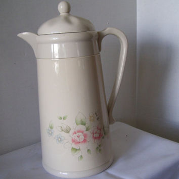 Vintage Kamenstein Coffee Carafe Thermos Hot Cold Coffee//Tea  Ivory Enamel  Pink Floral Design