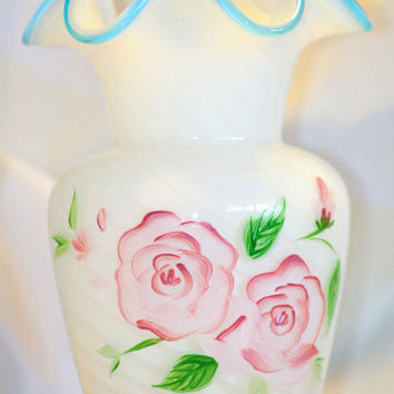 Fenton Art Glass Vase with Hand Painted Floral Motif