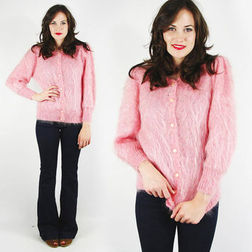 vtg 80s 50s rockabilly pin up CANDY pink METALLIC thread fuzzy shaggy MOHAIR wool cardigan sweater S M
