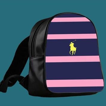 Polo Ralph Lauren Navy Blue Stripe for Backpack / Custom Bag / School Bag / Children B