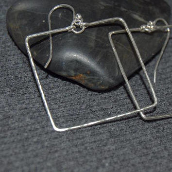 dangle square earrings, sterling silver large geometric earrings, silver square earrings, large dangle earrings, dangle square hoops