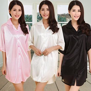 Summer viscose sexy button shirt sleepwear female sleeve long thin nightgown solid color casual lounge