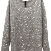 Gray Sequin Embellished Knit Sweater
