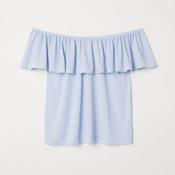 Short-sleeved Top - Light blue - Ladies | H&M US