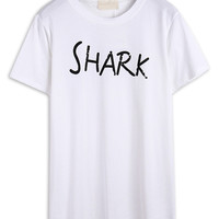 "White ""Shark"" Letter Print Short Sleeve T-shirt"