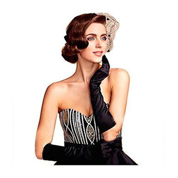 1920s Gatsby Classic Adult Size Black Opera Satin Long Gloves 15''/22''Elbow Length