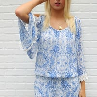 With Love & Lace Blue & White Cold Shoulder Drop Waist Tunic Dress