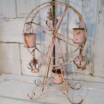 Pink Ferris wheel large metal rusty distressed shabby cottage candle holder crowns adorned in rhinestones home decor anita spero