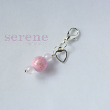 Stitch Marker - Pink Heart Gemstone - Handcrafted Beaded Stitch Marker for Crochet or Knitting - You Pick How Many - Combined Shipping