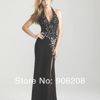 Sexy Halter Chiffon Beading Long Mermaid Prom Dresses 2015 Custom Made Backless Chiffon Party Gown Vestidos de baile