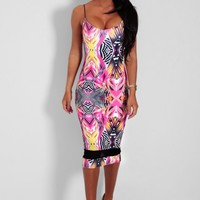 Jerebu Pink & Multicolour Abstract Print Midi Dress | Pink Boutique