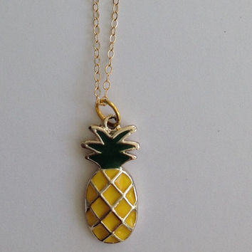 Pineapple Charm Necklace Pineapple Gold Tone Charm Gold Filled Necklace