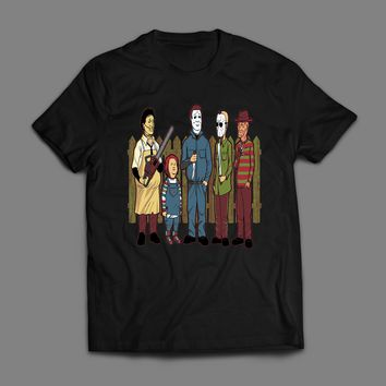 KING OF THE HILL HORROR MOVIE VILLAINS MASH UP T-SHIRT