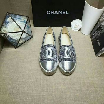 """""""Chanel"""" Women All-match Fashion Casual Weave Fisherman Shoes Loafer Flats Shoes Single Shoes"""