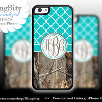 Monogram Iphone 5C case iPhone 5s  iPhone 4 case Ipod 4 5 Touch case Real Tree Camo Aqua Teal Quatrefoil Personalized