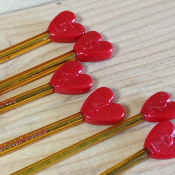 "Vintage Chadwick's Red Heart Knitting Needles, Knitting Pins, 10"" Yellow Plastic with Red Heart Beads, Size 2, 4 & 5"