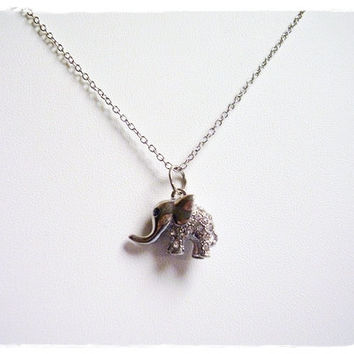 Silver Rhinestone Elephant Necklace - Silver Rhinestone Elephant Charm on a Delicate 18 Inch Silver Plated Cable Chain