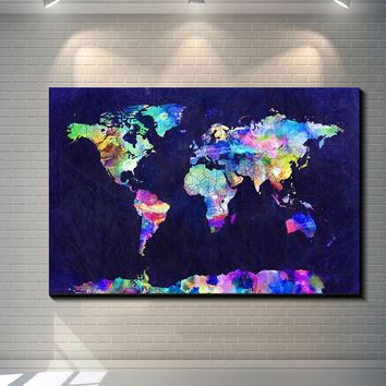 Abstract World map Canvas Poster Print POP ART poster print on canvas for wall decoration painting colourful map