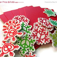 EtsyCIJ Sale Peace and Snow Holiday Card Kit, Makes 5 cards DIY Cards Kids Cards Childrens Christmas Cards Snowflakes
