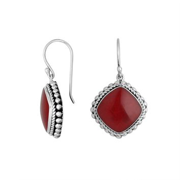 AE-6203-CR Sterling Silver Earring With Coral