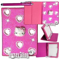 "Jersey Bling® BLING Universal Kindle Fire 7"" HD 1st & 2ND GEN, HDX, NON-HD, Crystal and Rhinestone Faux Leather Case with Built-In Stand, FREE Stylus (3D BLING Kitty)"