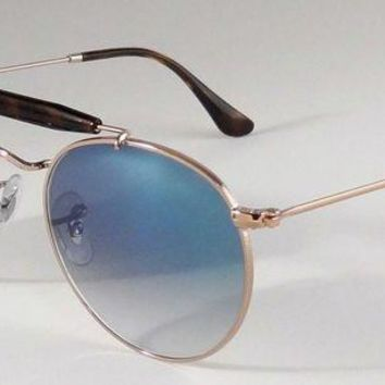 Kalete NEW RAY BAN ICONS ROUND DOUBLE BRIDGE BAR COPPER BLUE SUNGLASSES RB3747 9035/3F