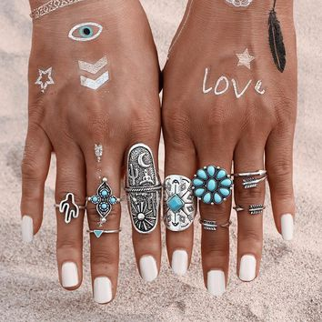 Turquoise Floral Vibe Ring Set