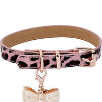 LEOPARD WITH BOW DOG COLLAR