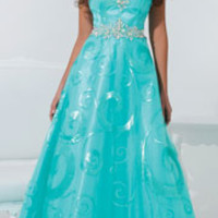 (PRE-ORDER) Tony Bowls 2014 Prom Dresses - Turquoise Sequin Swirl Strapless Sweetheart Gown