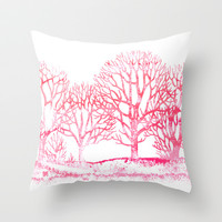 Pink Winter Throw Pillow by Color and Form