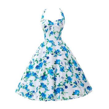 Womens Summer Style 50s 60s Vintage Pin Up Dresses Rockabilly Retro Floral Print Casual Party Clothing Plus Size