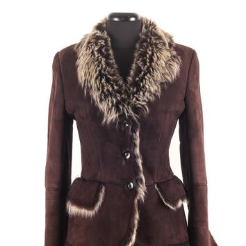 Gucci Brown Shearling Jacket with Blond Fur
