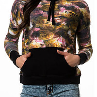 The DNR Cropped Pullover Hoodie in Floral Print