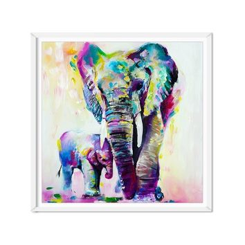 Watercolor Art Printed Elephant With Son Canvas Painting Poster Anime Wall Picture For Living Room Bedroom Unframed Decoration